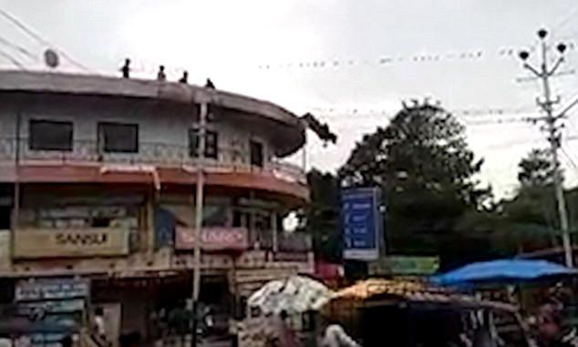 Bir İneğin Çatıdan Atladığı Görüntüler Sosyal Medyayı Salladı